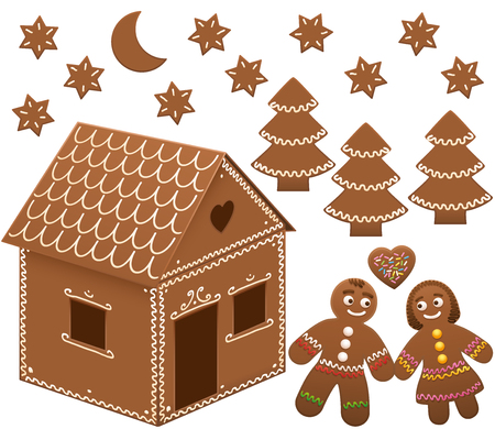 lovestruck: Gingerbread house with trees, moon and stars. Isolated vector illustration on white background.