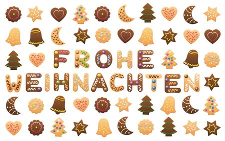 among: MERRY CHRISTMAS - Merry Christmas in German, written among christmas cookies and gingerbread cookies.