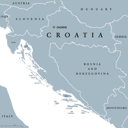 neighbor: Croatia political map with capital Zagreb, national borders and neighbor countries. Gray illustration with English labeling on white background. Vector.