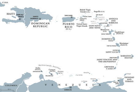 Lesser Antilles political map. Caribbees with Haiti, Dominican Republic and Puerto Rico in the Caribbean Sea. Gray illustration with English labeling on white background. Vector.