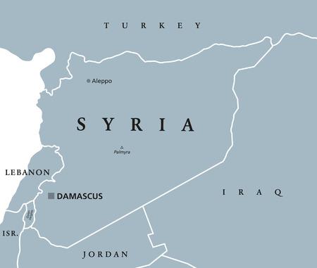 mapa politico: Mapa político de Siria con el capital, Damasco, fronteras nacionales y de países vecinos. República Árabe en Asia occidental. Ilustración gris con etiquetado Inglés sobre fondo blanco. Vector.