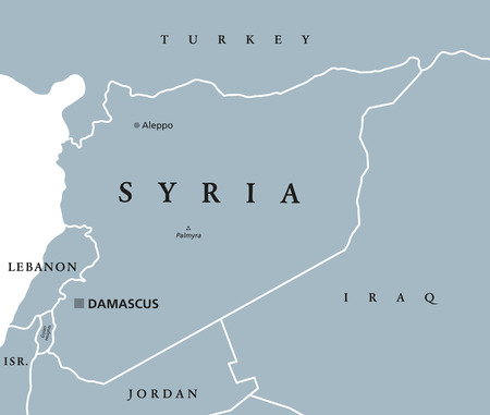 neighbor: Syria political map with capital Damascus, national borders and neighbor countries. Arab republic in Western Asia. Gray illustration with English labeling on white background. Vector.