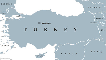 neighbor: Turkey political map with capital Ankara, national borders and neighbor countries. Republic in Eurasia. Gray illustration with English labeling on white background. Vector. Illustration