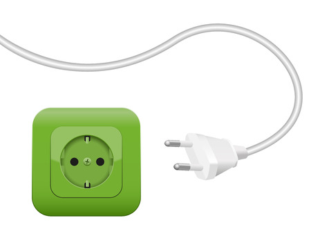 green power: Green socket, symbol for clean power and eco green energy - SCHUKO connector system.