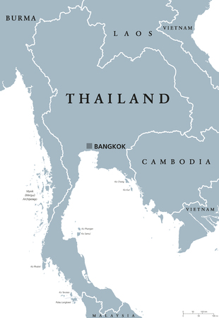 indochina peninsula: Thailand political map with capital Bangkok and national borders. Kingdom at Indochinese peninsula in Southeast Asia formerly known as Siam. Gray illustration with English labeling over white. Vector. Illustration