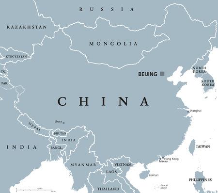首都北京と中国の政治地図と国境。東アジアの人民共和国。上海、香港とマカオ。白い背景の英語表示で灰色の図。ベクトル。