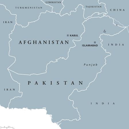 mapa politico: Afganistán y Pakistán mapa político con mayúsculas Kabul e Islamabad, las fronteras nacionales y de países vecinos, con sede en Asia. Ilustración gris con etiquetado Inglés sobre fondo blanco. Vector. Vectores