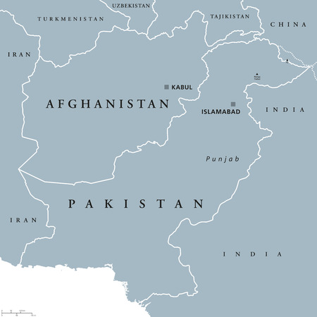 taliban: Afghanistan and Pakistan political map with capitals Kabul and Islamabad, national borders and neighbor countries, located in Asia. Gray illustration with English labeling on white background. Vector.