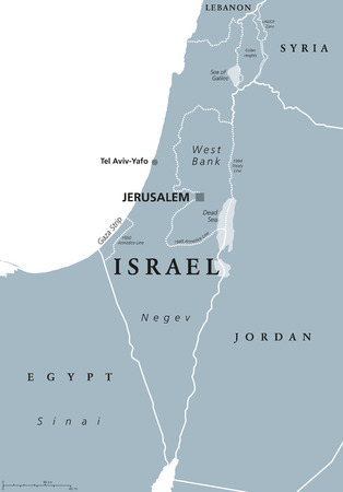 middle east: Israel political map with capital Jerusalem and neighbors. State of Israel, a country in Middle East with Palestinian territories West Bank and Gaza Strip. Illustration with English labeling. Vector.