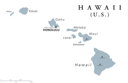 Hawaii political map with capital Honolulu. State of the USA, located in Oceania, composed entirely of Islands, northernmost island group of Polynesia. Gray illustration with English labeling. Vector.