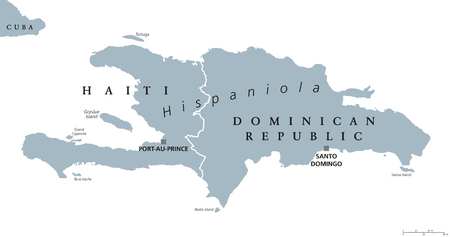 mapa politico: Hispaniola political map, also San Domingo. Haiti and Dominican Republic with capitals Port-au-Prince and Santo Domingo, in the Caribbean island group. Gray illustration with English labeling. Vector.