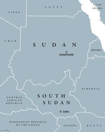 mapa politico: Sudán y Sudán del Sur mapa político con mayúsculas Jartum y Juba. Dos repúblicas en África Oriental, con las fronteras nacionales y de países vecinos. Ilustración gris con etiquetado Inglés. Vector. Vectores