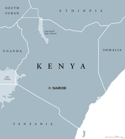 neighbor: Kenya political map with capital Nairobi. Republic in Africa with national borders, neighbor countries, Lake Turkana and Lake Victoria. Gray illustration with English labeling. Vector. Illustration