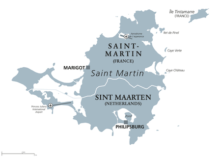 collectivity: Saint Martin political map. Caribbean island with countries Saint-Martin, France and Sint Maarten, The Netherlands. Capitals Marigot and Philipsburg. Gray illustration with English labeling. Vector.