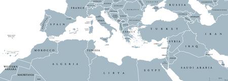 地中海沿岸地方の政治地図。地中海地域、またメディテラネア。地中海の周りの土地。南ヨーロッパ、北アフリカ、近東。英語表示で灰色の図。ベ