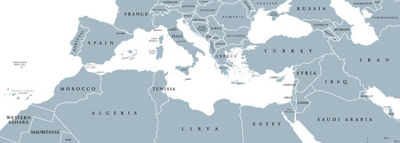 지중해 유역의 정치지도. 또한 지중해 지역, 메디 테라. 지중해 주변의 땅. 남쪽 유럽, 북아프리카와 근동. 영어 라벨 회색입니다. 벡터.
