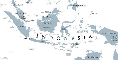 インドネシア首都ジャカルタ、島の政治地図の国マレーシア、シンガポール、ブルネイ、東ティモール、首都隣人します。白い背景の英語表示で灰  イラスト・ベクター素材
