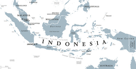Indonesia political map with capital Jakarta, islands, neighbor countries Malaysia, Singapore, Brunei, East Timor and capitals. Gray illustration with English labeling on white background. Vector. Vectores