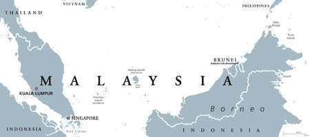 neighbor: Malaysia political map with capital Kuala Lumpur in Asia with neighbor countries Indonesia, Singapore and Brunei. Gray illustration with English labeling on white background. Vector.
