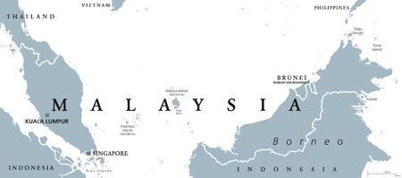 mapa politico: mapa político con el capital de Malasia Kuala Lumpur en Asia con los países vecinos Indonesia, Singapur y Brunei. Ilustración gris con etiquetado Inglés sobre fondo blanco. Vector.