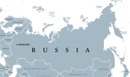 mapa politico: mapa político con Rusia Moscú de capital, las fronteras nacionales y de países vecinos. Federación de Rusia, un estado federal en Eurasia. Ilustración gris con etiquetado Inglés sobre fondo blanco. Vector.