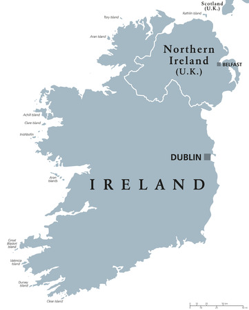 irish map: Republic of Ireland and Northern Ireland political map with capitals Dublin and Belfast. Island in Europe and in the North Atlatic. Gray illustration with English labeling on white background. Vector. Illustration