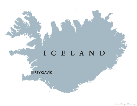 atlantic: Iceland political map with capital Reykjavik. Republic and Nordic island country in Europe and the North Atlantic Ocean. Gray illustration with English labeling on white background. Vector. Illustration