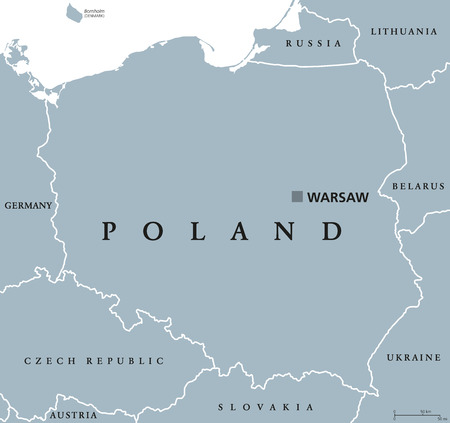 neighbor: Poland political map with capital and neighbor countries. Republic and country in Central Europe. Gray illustration with English labeling on white background. Vector.