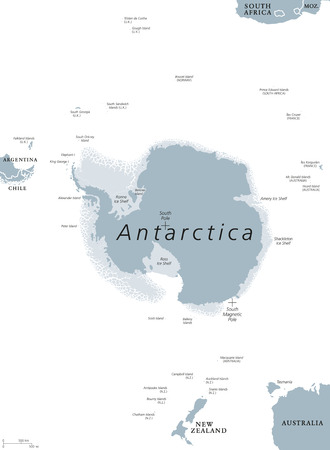antarctic: Antarctica political map. The Antarctic polar region around the Earth South Pole with islands and ice shelves. Gray illustration with English labeling on white background. Vector.