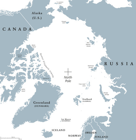 the arctic ocean: Arctic region political map. Polar region around the North Pole at the northernmost part of Earth. The Arctic Ocean without ice. Gray illustration with English labeling on white background. Vector.