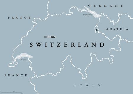 Switzerland political map with capital Bern, national borders and neighbor countries. Swiss Confederation, a federal republic in Europe. Gray illustration with English labeling over white. Vector. Illustration