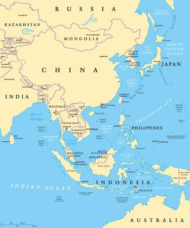 동아시아 수도와 국경의 정치지도. 아시아 대륙의 동부 하위 영역. 중국, 몽골, 인도네시아, 필리핀, 말레이시아, 일본. 영어 표지 그림입니다. 벡터. 일러스트