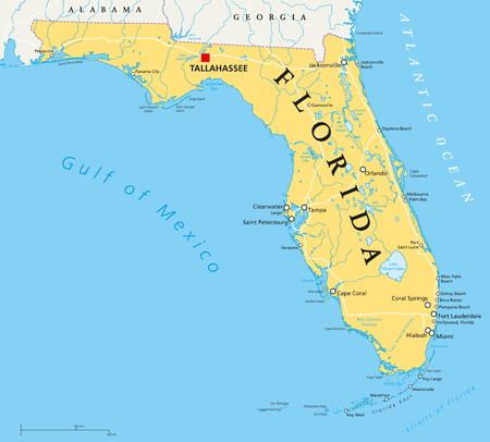 Florida political map with capital Tallahassee, borders, important places, rivers and lakes. State, located in the southeastern region of the United States. Illustration with English labeling. Vector.