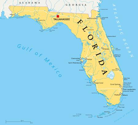 Carte politique de la Floride avec Tallahassee, frontières, lieux importants, rivières et lacs. État, situé dans la région du sud-est des États-Unis. Illustration avec l'étiquetage en anglais. Vecteur.