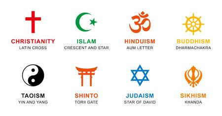 Weltreligion Symbole gefärbt. Zeichen der großen religiösen Gruppen und Religionen. Christentum, Islam, Hinduismus, Buddhismus, Taoismus, Shintoismus, Sikhismus und Judentum, mit englischen Beschriftung. Illustration. Vektor