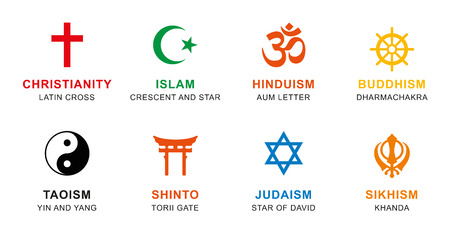 sikhism: World religion symbols colored. Signs of major religious groups and religions. Christianity, Islam, Hinduism, Buddhism, Taoism, Shinto, Sikhism and Judaism, with English labeling. Illustration. Vector