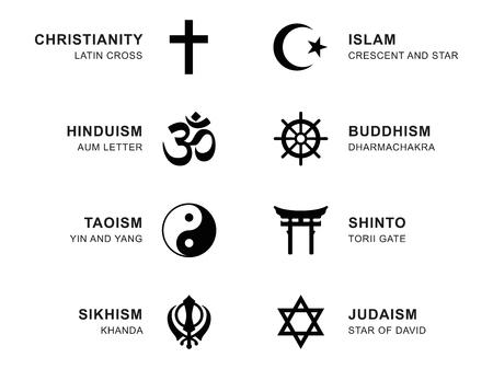 Weltreligion-Symbole. Acht Zeichen der großen religiösen Gruppen und Religionen. Christentum, Islam, Hinduismus, Buddhismus, Taoismus, Shintoismus, Sikhismus und Judentum, mit englischen Beschriftung. Illustration. Vektor. Vektorgrafik