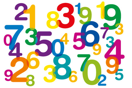 numbers abstract: Floating and overlapping colored numbers as symbol for numerology or flood of data. Ten numbers from one to zero disorganized and of different sizes. Isolated illustration on white background. Vector.