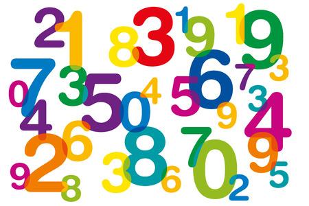 Números de colores flotantes y superpuestos como símbolo de numerología o inundación de datos. Diez números del uno al cero desorganizados y de diferentes tamaños. Ilustración aislada sobre fondo blanco. Vector.