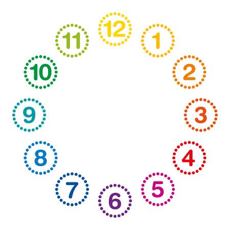 Regenbogen farbige Zifferblatt mit Ziffern und Stunden 11.59. Analog-Uhr und Uhr mit Kreisen Wahl von Punkten und die Zahlen gemacht. Isolierte Darstellung auf weißem Hintergrund. Vektor.