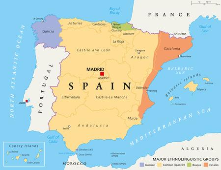 autonomia: España mapa comunidades autónomas, las divisiones administrativas con autonomía limitada. Con los principales grupos etnolingüísticos. Gallego, castellano, euskera y catalán. Ilustración con el etiquetado Inglés. Vector