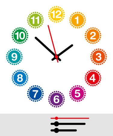 Rainbow colored clock face with numerals one to twelve. Analog clock and watch dial with black and red pointers showing hours, minutes and seconds. Isolated illustration on white background. Vector. 矢量图像
