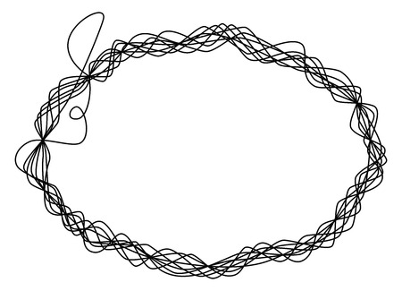 shaping: Single thread frame. One single line is eight times wrapped around and shaping an ellipse like a wire sculpture. Black illustration on white background. Vector.