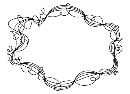 shaping: Single swing thread frame. Decorative ornament and border for text and images. One line going five times around shaping an ellipse like a wire sculpture. Black illustration on white background. Vector Illustration