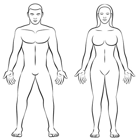 woman male: MAN and WOMAN - outline illustration for comparison of female and male body shapes.