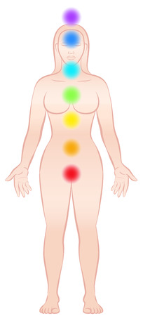 energy healing: Meditating woman with chakras - standing yoga position.