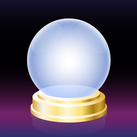 foretell: Crystal ball - empty glass globe for fortune telling.