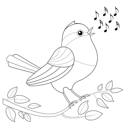 Songbird coloring picture - singing bird with notes waiting to be colored.