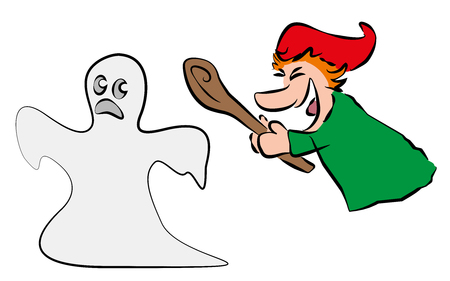 fleeing: Brave punch chases and hits a fleeing ghost.