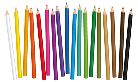 loosely: Crayons - colored pencil set loosely arranged - vector on white background.